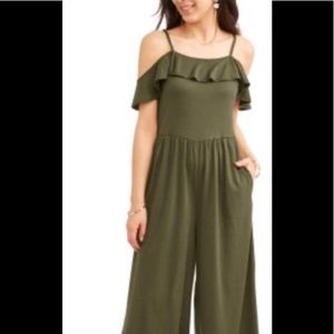 Time and Tru, army green, jumper w/ pockets, M